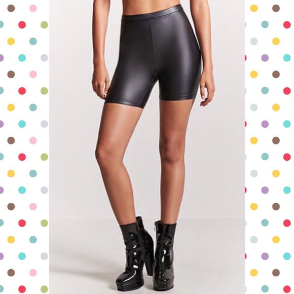 b33efdf840828 Forever 21 Pants - Forever 21 Faux leather biker shorts/legging short